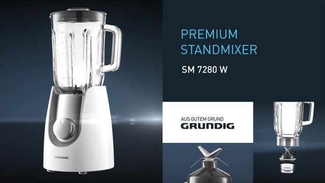 Grundig SM 7280 W Premium Standmixer mit 4 Geschwindigkeitsstufen  Glasbehälter