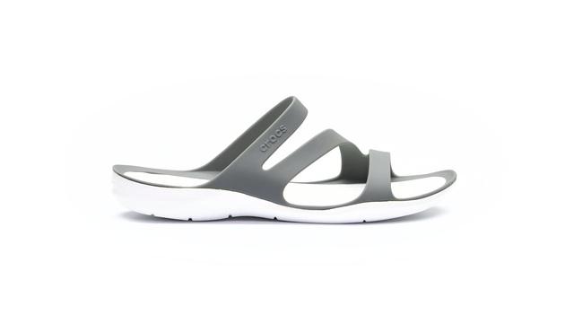Crocs »Swiftwater Sandal« Pantolette, schnelltrocknend, grau, grau-weiß