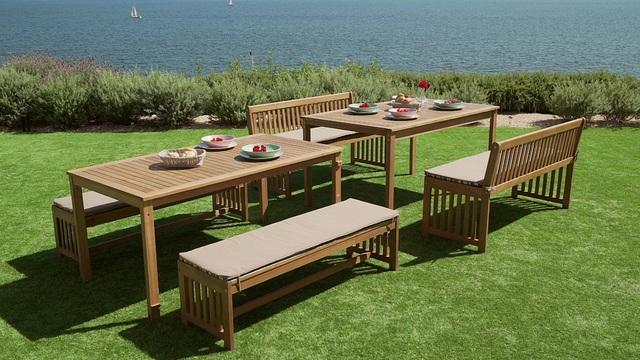 Gartenmöbelset »Hawaii«, 10 tlg., 4 Bänke, 2 Tische, Akazienholz