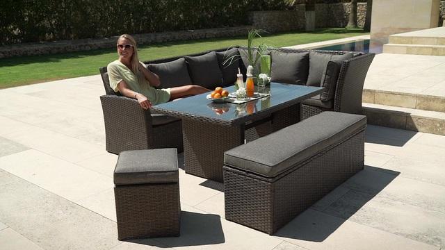 Gartenmöbel set mit bank  Gartenmöbelset »Mallorca«, 17-tlg., 2x 3er-Sofa, Bank, Hocker, Tisch ...