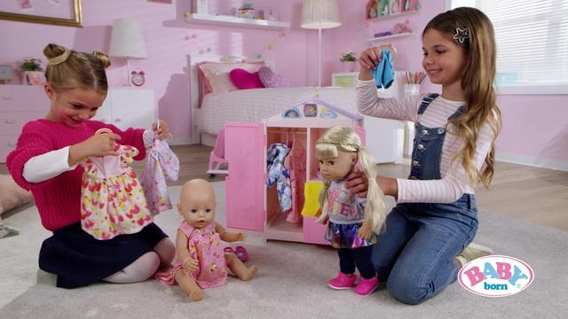 Zapf Creation 827987 BABY born Baby Care Schrank mit Wetterente Puppenkleiderschrank mit Funktion und Melodie