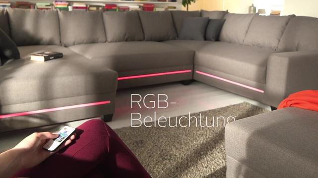 Nova Via Big Sofa Wahlweise Mit Rgb Led Beleuchtung Inklusive