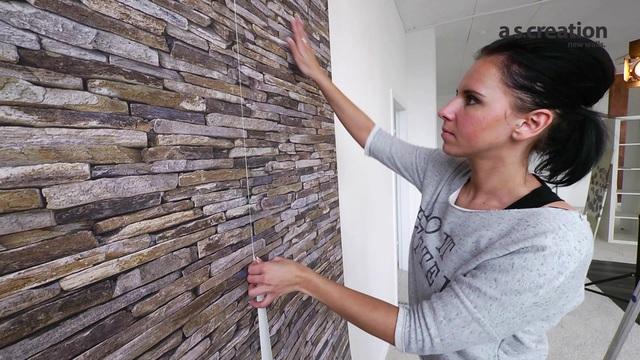 vliestapete livingwalls mustertapete in stein fliesenoptik online kaufen otto - Stein Muster Tapete