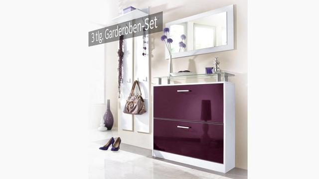 schuhschrank set 2tlg set schuhschrank mit spiegel und. Black Bedroom Furniture Sets. Home Design Ideas