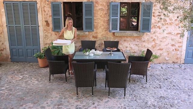 Terrassenmöbel polyrattan braun  Gartenmöbelset »Trentino«, 6 Sessel, Tisch 140x80 cm, Polyrattan ...